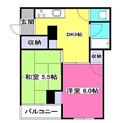東京都東村山市野口町1丁目の賃貸マンションの間取り