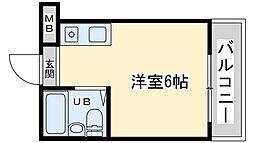 Osaka Metro御堂筋線 西中島南方駅 徒歩17分の賃貸マンション 1階ワンルームの間取り