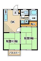 東京都府中市清水が丘1丁目の賃貸アパートの間取り