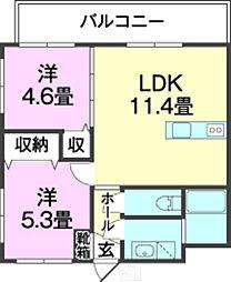 バス 高安下車 徒歩7分の賃貸マンション 1階2LDKの間取り