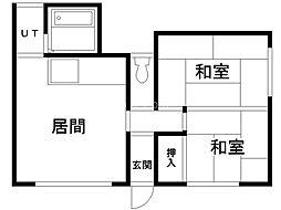 杉本マンション 1階2LDKの間取り