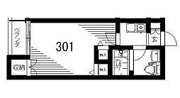 京急本線 立会川駅 徒歩6分の賃貸マンション 3階1Kの間取り