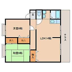 奈良県奈良市五条畑1丁目の賃貸アパートの間取り