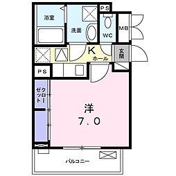 クレスト神崎川 1階1Kの間取り