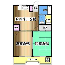 東京都あきる野市二宮の賃貸マンションの間取り