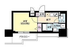 DIMUS新大阪 4階1Kの間取り