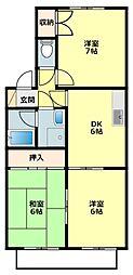 愛知県岡崎市天白町字河原の賃貸アパートの間取り