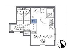 東京メトロ半蔵門線 押上駅 徒歩11分の賃貸マンション 4階ワンルームの間取り