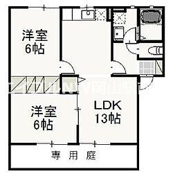 岡山県岡山市北区久米の賃貸アパートの間取り
