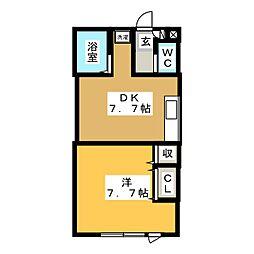 グレープ館B[1階]の間取り