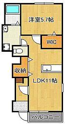 (仮)菅原町新築アパート 1階1LDKの間取り