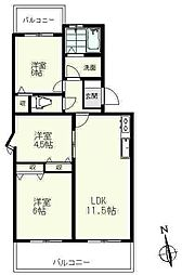 コンフォール・カヤノ[2階]の間取り