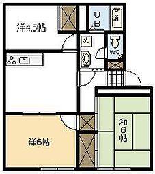 パレス木花台A棟[A201号室]の間取り