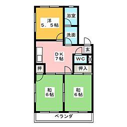 マンションサン[2階]の間取り