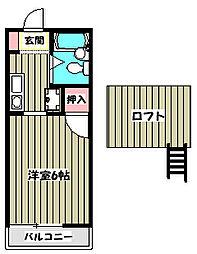サクセスコート東中野[2階]の間取り