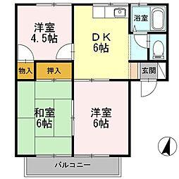 神奈川県伊勢原市桜台3丁目の賃貸アパートの間取り