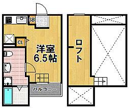プリエール大阪 1階ワンルームの間取り