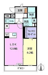 アライブIV 2階1LDKの間取り