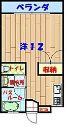 バス 宜野座高校前下車 徒歩8分の賃貸アパート 2階ワンルームの間取り