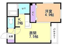 Boule de Neige東札幌 1階1LDKの間取り