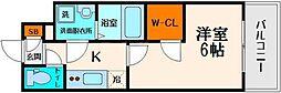 エスリード大阪城 10階1Kの間取り