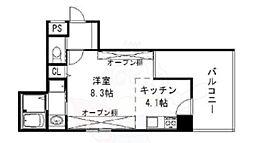 カンパニオ江坂 8階1Kの間取り