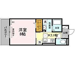 JR吉備線 備前三門駅 徒歩12分の賃貸アパート 1階1Kの間取り