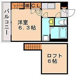 エーデル片江[1階]の間取り