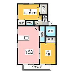 愛知県瀬戸市若宮町3丁目の賃貸アパートの間取り