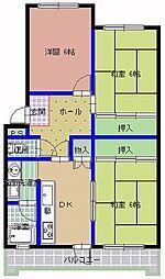 桜下マンション[206号室]の間取り