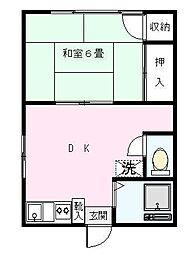 若葉荘[201号室]の間取り