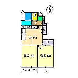 ノースフィオーレRK[1階]の間取り