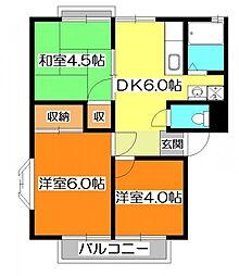 東京都東村山市秋津町4の賃貸アパートの間取り