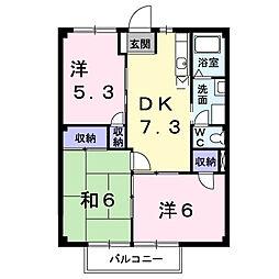 埼玉県白岡市小久喜の賃貸アパートの間取り