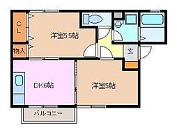 三重県鈴鹿市算所1丁目の賃貸アパートの間取り