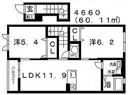 ラ・フルールIII[203号室号室]の間取り