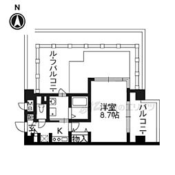 APEX京都御所西603号室 6階1Kの間取り