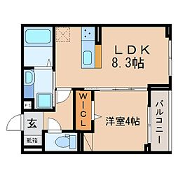 JR東海道本線 静岡駅 徒歩11分の賃貸アパート 3階1LDKの間取り