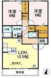 香川県高松市神在川窪町の賃貸アパートの間取り