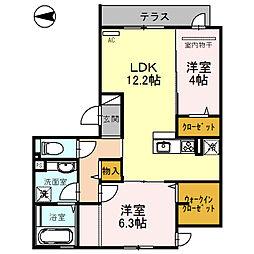 はぁ〜と・六万寺[3階]の間取り