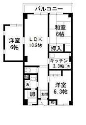 メゾンWAT(最上階、角住戸、日当たり良好)[401(エレベーターなし)号室]の間取り