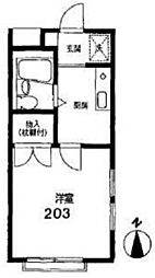 神奈川県横浜市金沢区釜利谷東1丁目の賃貸アパートの間取り