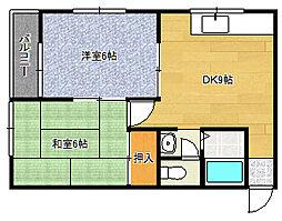 三陽ハイツ4階Fの間取り画像