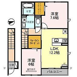 東武野田線 七里駅 徒歩12分の賃貸アパート 2階2LDKの間取り