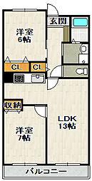グリーンコート西田[306号室]の間取り