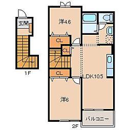 和歌山県紀の川市尾崎の賃貸アパートの間取り