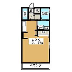 プランタン3 1階ワンルームの間取り