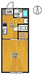 佐賀県佐賀市光2丁目の賃貸アパートの間取り