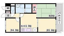 兵庫県神戸市北区北五葉2丁目の賃貸マンションの間取り