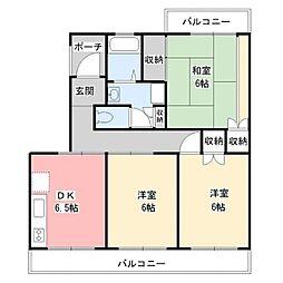 静岡県裾野市岩波の賃貸マンションの間取り
